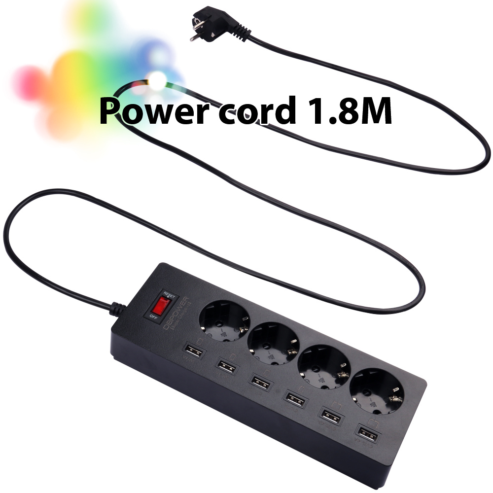 USB Power Strip 4 AC Power Sockets+6 USB Outlets Surge Protected Extension Lead Adapter 1.8M Cable USB Socket EU Plug