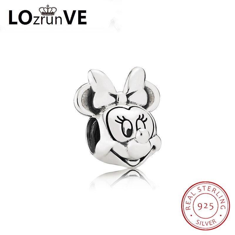 original 925 sterling silver enamel charm sweet mickey pandulaso DIY jewelry bracelet bead women factory wholesale factory