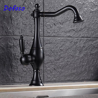 Dofaso Luxury Antique Kitchen Faucet Retro Oil Rubbed Black Finish Singe Handle Cold And Hot Water