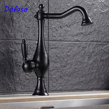 Dofaso luxury Antique Kitchen Faucet Retro Oil Rubbed Black Finish Singe Handle cold and hot water Bathroom basin faucet