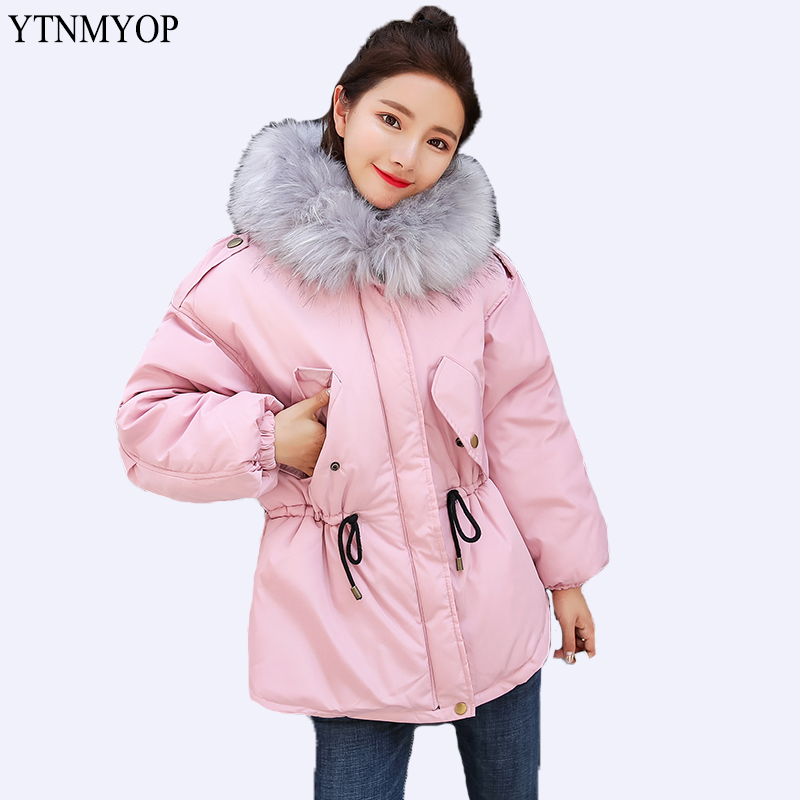 YTNMYOP 2018 New Slim Fashion Dovetail Winter Jacket Women Warm Cotton Clothing Autumn Wadded Coat Down Cotton   Parkas   Pink Cute