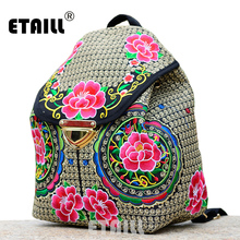 Ethnic Flower Embroidery Backpacks National Wind Personality Boho Thai Embroidered Canvas Drawstring Travel Bags Sac a Dos Femme