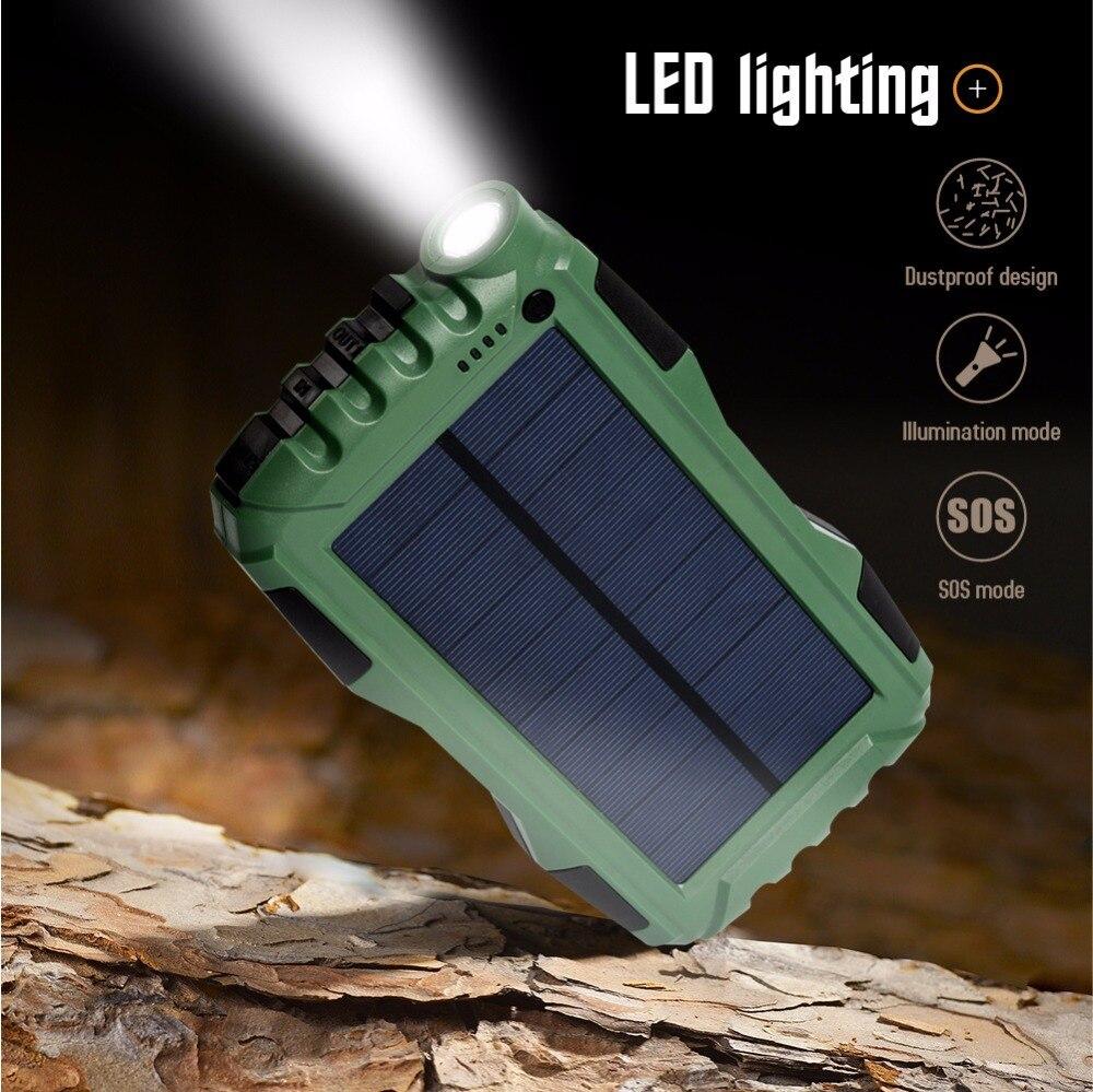 Batterie portable solaire PIAGOLD 25000 mAh double Port USB batterie externe étanche extérieure avec lampe de poche LED batterie externe étanche à la poussière