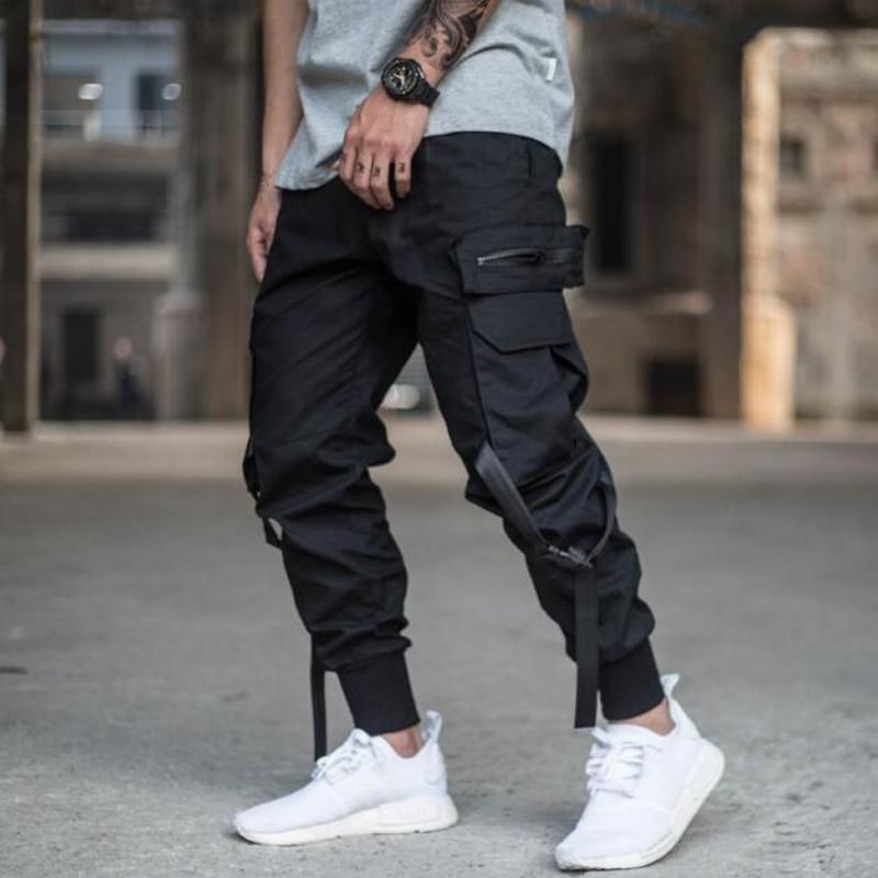 Hommes rubans couleur bloc noir poche Cargo pantalon 2019 Harem Joggers Harajuku pantalon de survêtement Hip Hop pantalon grande taille-in Pantalon sarouel from Vêtements homme on AliExpress - 11.11_Double 11_Singles' Day 1