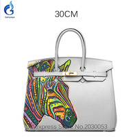 100 Genuine Leather Handbags POP Art Oil Zebra Hand Painting Luxury Brand Design Hand Bags High