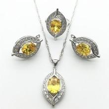 One eyed en forma de Oro Blanco Amarillo Sistemas de la Joyería de Las Mujeres 925 Anillos de Plata/Pendientes/Collar/Colgante Del Envío libre