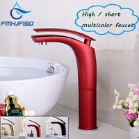 Basin Faucet Red Black Golden Wall Mounted Sink Faucet Bathroom Hot And Cold Water Mixer Taps