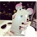 Для Apple iPhone 7 7 Плюс 3D Микки Минни Маус Bling Diamond Crystal Уши Мягкие Силиконовые ТПУ Задняя Крышка Телефона Чехол Коке Funda