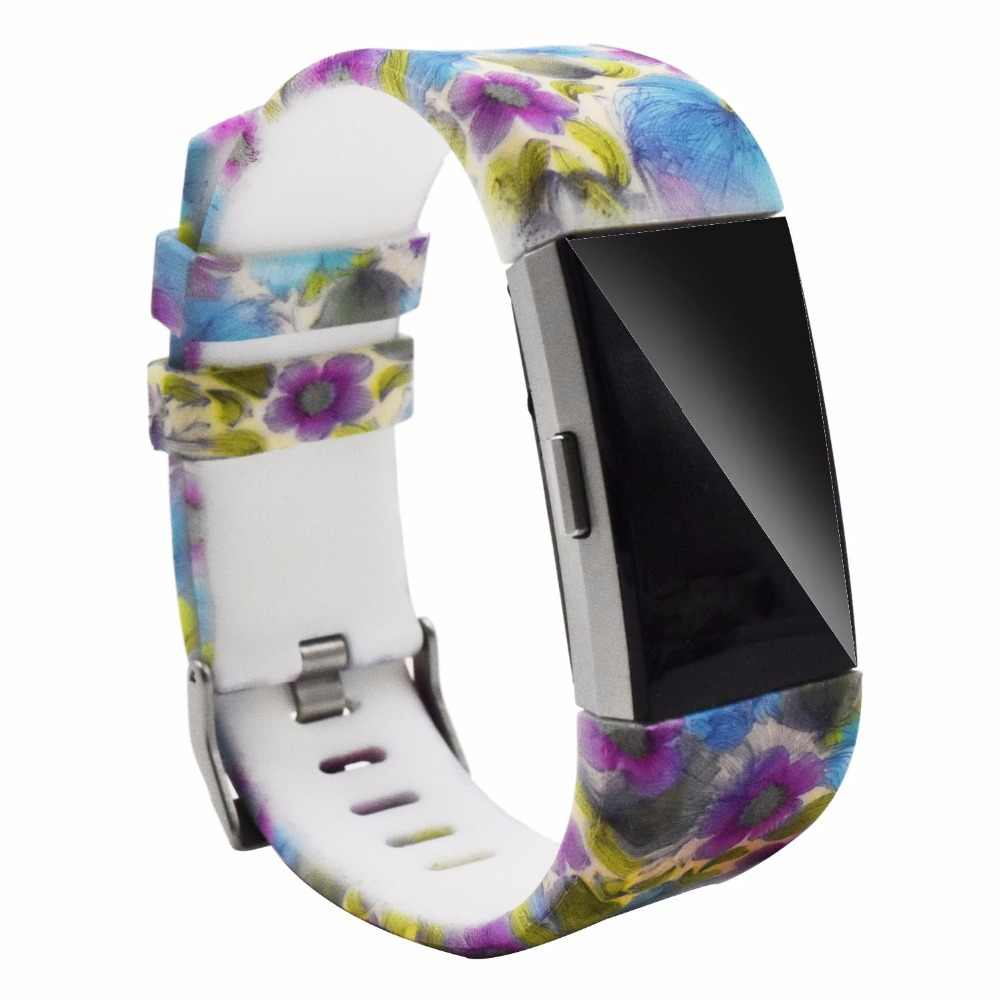 Цветной ремешок для часов Модный спортивный силиконовый ремешок для часов браслет ремешок для Fitbit Charge 2 узор ремешок 2017