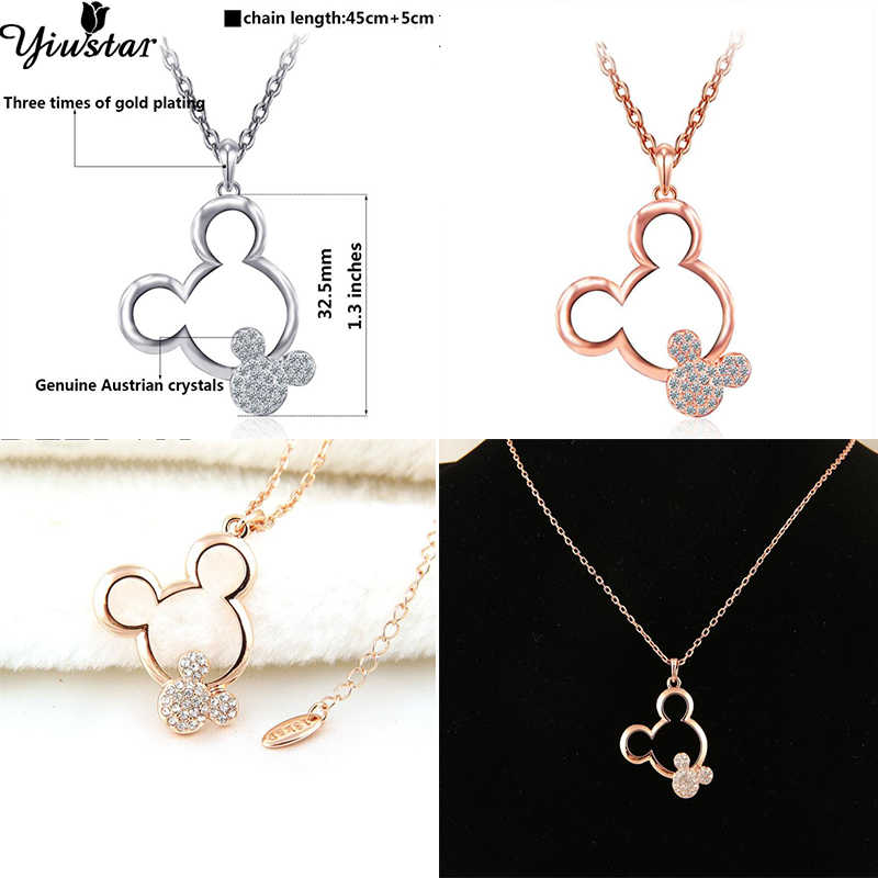Yiustar Cute Mickey Jewelry Mouse Mickey Pendant Necklace for Women Girls Cartoon Jewelry Simple Necklace Party Gifts for Kids