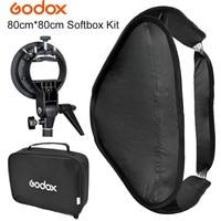 GODOX S Type Bowens Mount Bracket + 80 x 80cm 32 Fold Portable Photo Studio Softbox Diffuser bag Kit for Flash Speedlite Dish