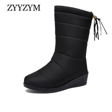ZYYZYM Women Boots Snow Boots High Style Woman Winter Boots Solid Plush Keep Warm knee-high Cotton Shoes Female Mujer Botas asumer plus size 35 44 new 2018 snow boots women fashion keep warm winter boots round toe platform knee high boots female shoes page 2