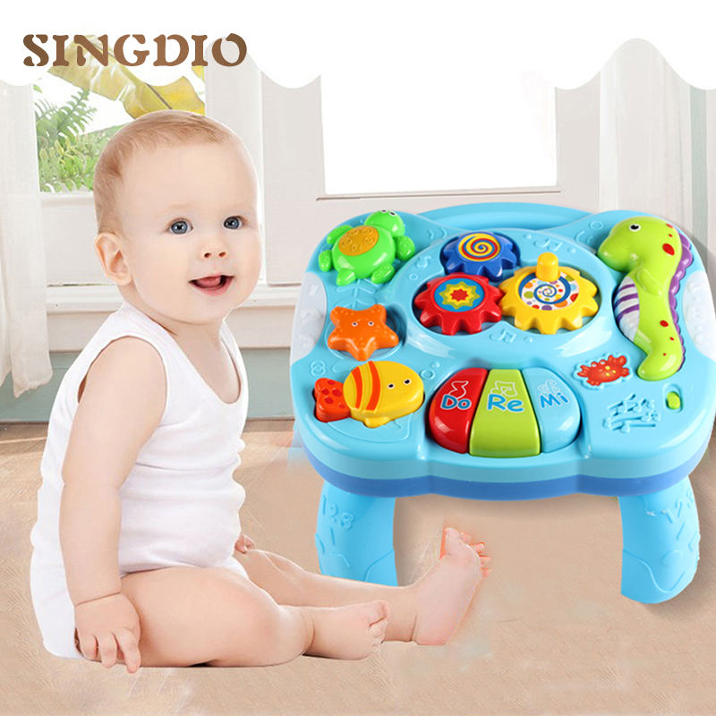 цена на SINGIO Baby Music Table Toy Kids Learning Study Playing Toy Musical Instruments Educational Toys for Children Christmas Gifts