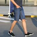 2017 Fashion More style Knee mens jeans jeans famous brand men tide pants Slim stretch short jeans men