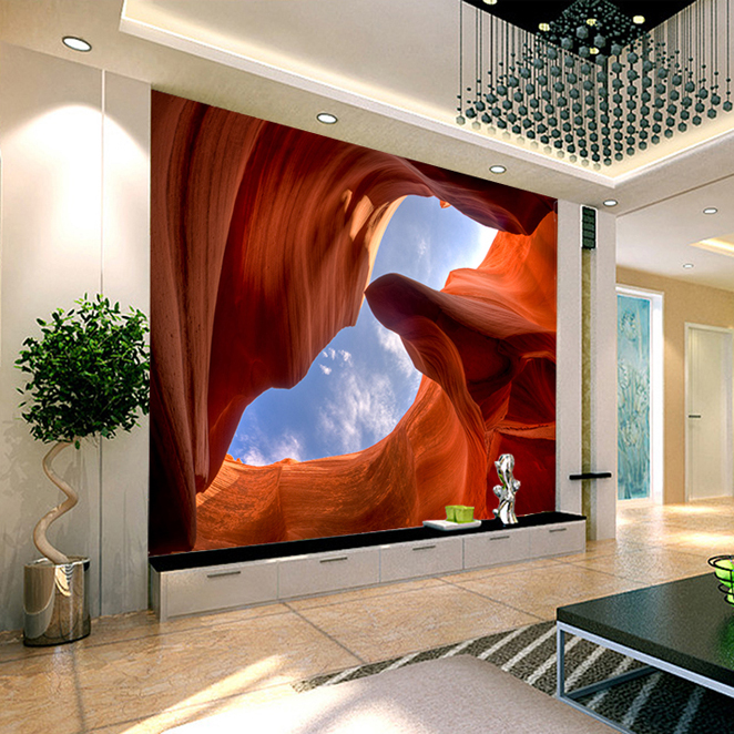 Custom 3d mural 3D living room United States Antelope Canyon scenery sofa TV wall bedroom mural wallpaper цена 2017