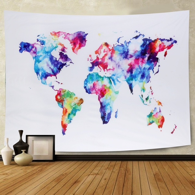 World Map Tapestry Wall Hanging Beach Towel Colorful Oil Painting - Mandala map of the world