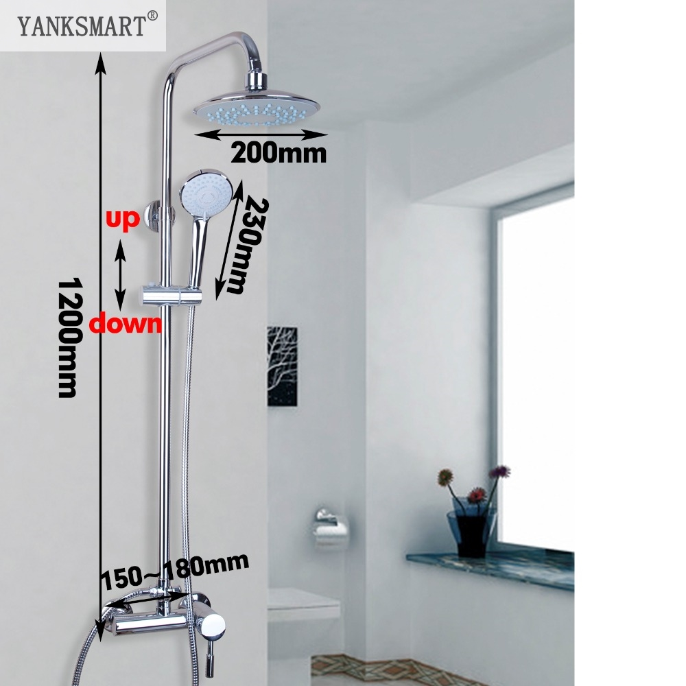 YANKSMART Bath&Shower Faucet Wall Mounted Polished Chrome Mixer Tap Round 8 Rainfall Shower Faucet Set With Bathroom Hand Spray chrome bathroom thermostatic mixer shower faucet set dual handles wall mount bath shower kit with 8 rainfall showerhead
