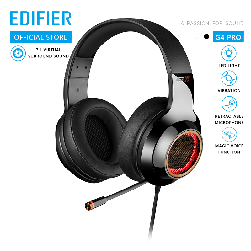 EDIFIER G4 Pro USB Gaming Headset with Virtual 7.1 Surround Sound RGB Lights Magic Voice Function Retractable Boom Microphone