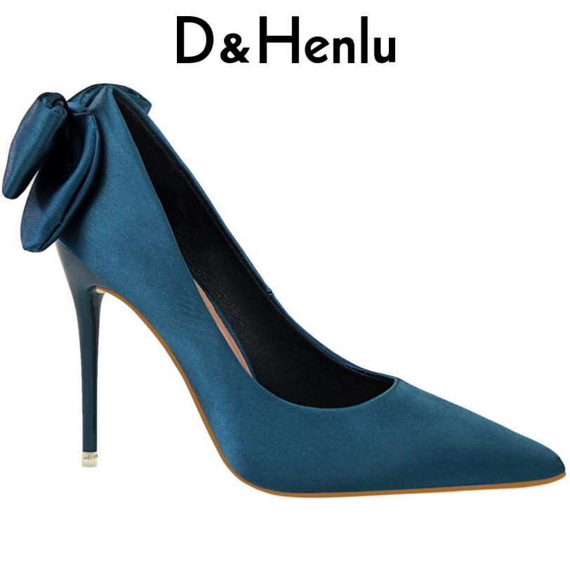 {D&Henlu} Ladies Shoes with Heels Womens Sexy Shoes High Heels Party Shoe Pumps Woman Pumps Stiletto Bowtie Heel Wedding Shoe bow wedding shoe for brides blue bowtie fashion luxury rhinestones party dress pumps shoe pr653 blue wedding shoes woman