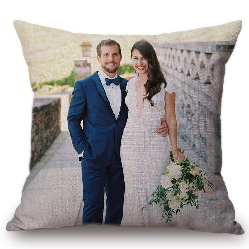 Personalize 24 Large Size Cushion Cover Customized Cotton Linen Big 60x60cm Sofa Throw Pillow Cover Anniversary Gift Pillow 20