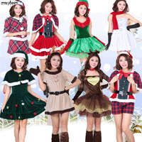 Christmas Dresses Women Winter 2017 Tree Deer Snowman Cosplay Sexy Lolita Red Green Party Festival Christmas