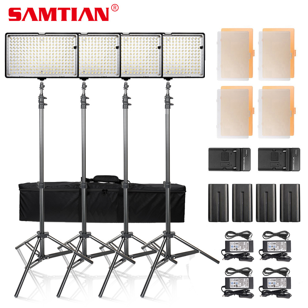 SAMTIAN 4SETS Dimmable 3200K/5600K 240 LED Video Photo Studio Light Panel Kit With Battery and Stand For Photography Lighting gvm 520s b led video light with battery cri97 3200k 5600k for video making photography lighting and location shooting panel