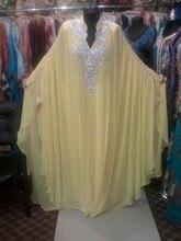 Yellow Long Chiffon Abaya in Dubai Kaftan Plus Size Muslim Evening Dresses Beaded Turkish Islamic Women Arabic Evening Gowns