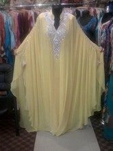 Yellow Long Chiffon Abaya in Dubai Kaftan Plus Size Muslim Evening Dresses Beaded Turkish Islamic Women Arabic Evening Gowns