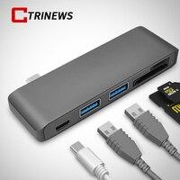 CTRINEWS 5In1 USB C 3.1 Type C Hub Power Levering PD-Power hoge Snelheid USB 3.0 Combo Splitter SD/TF Kaartlezer Voor Macbook