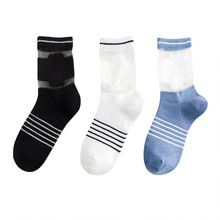 Women Cotton Fashionable Spring Summer Cute Lace Mesh Patchwork Heap Crew Socks Crystal Striped Casual Street