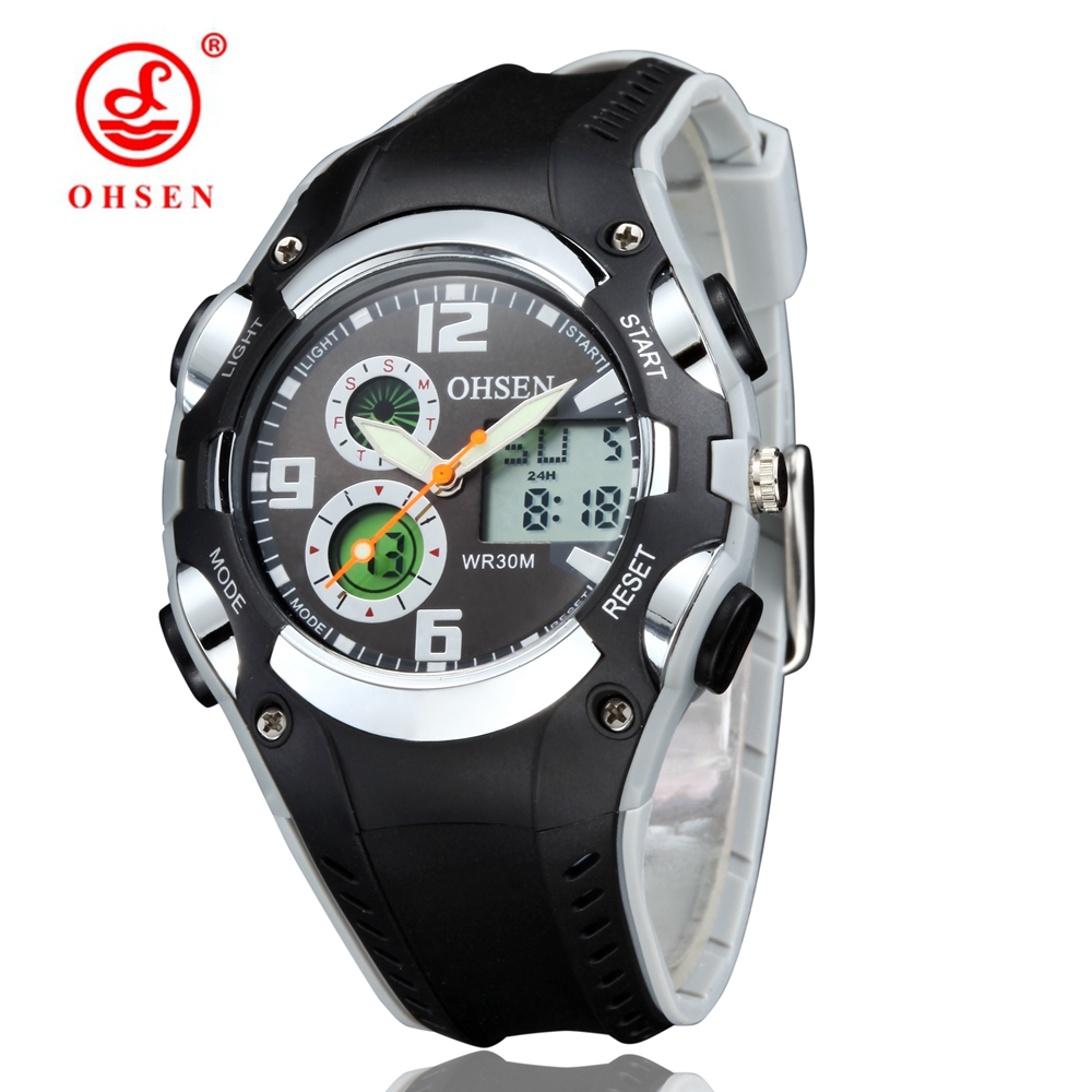 Children Sport Watch 30M Waterproof Wristwatches Kid Rubber Strap Alarm Date Stopwatch Digital Analog Dual Display