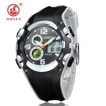 Children Sport Watch 30M Waterproof Wristwatches Kid Rubber Strap Alarm Date Stopwatch Digital Analog Dual Display OHSEN AS22