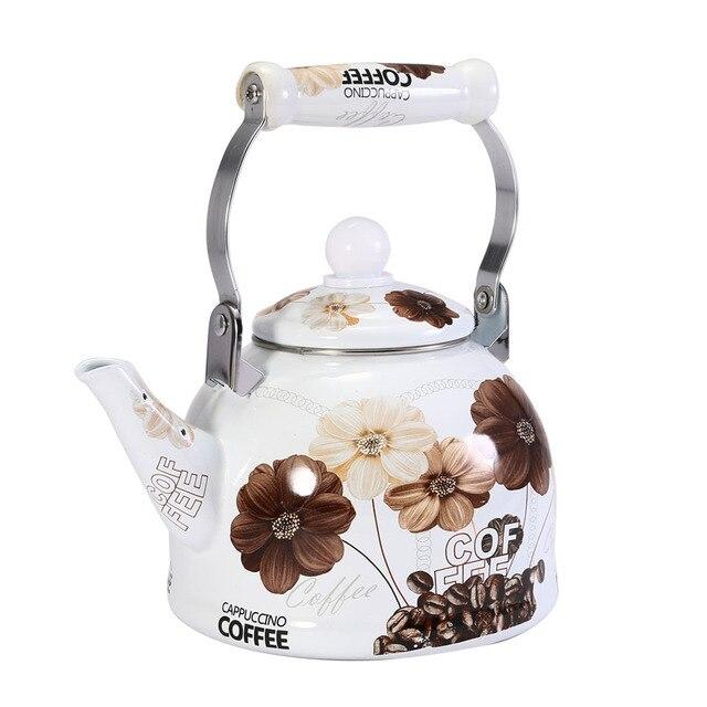 2l Chinese Traditional Enamel Teapot Vintage Loose Leaf Tea Coffee Pot Kettle Coated Steel