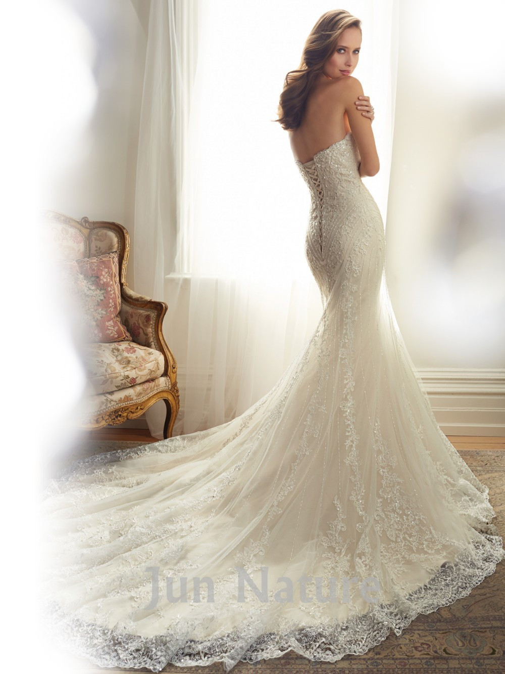 Real Picture Elegant Chapel Train Strapless Lace Open Back Mermaid Fishtail Long Wedding Dress With Beading Backless Bridal Gown In Dresses From