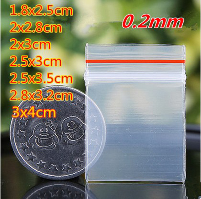 400pcs Red side small size Self Sealing Zip Lock Bags jewelry Mini pouches Plastic Packa ...