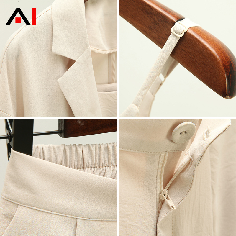 Set female 2018 summer new elegant casual solid color wild small suit + strap + shorts temperament fashion thin three-piece