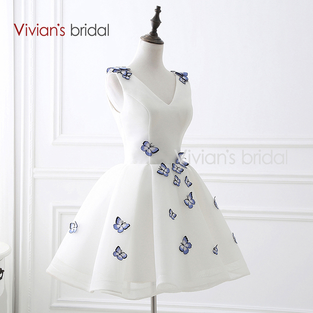 Robe De Soiree White Short V Neck Tulle Cocktail Dres Lace up Back Prom Party Gowns with Butterfly Cocktail Dresses