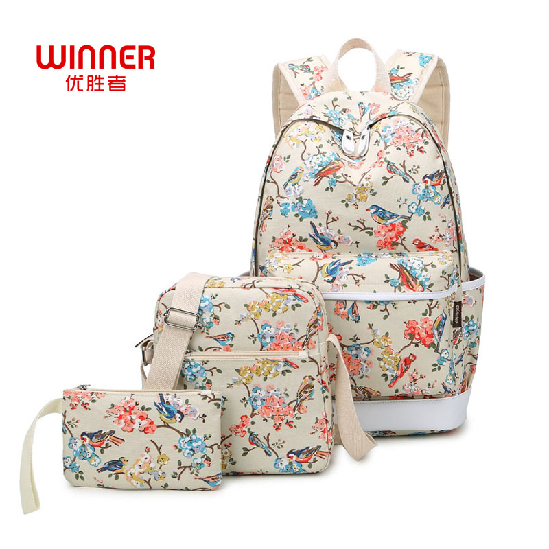 WINNER Brand Women Canvas Bagpack School Bags for Teenage Girls Travel Bag Laptop Bird and Floral Printing Backpacks Waterproof