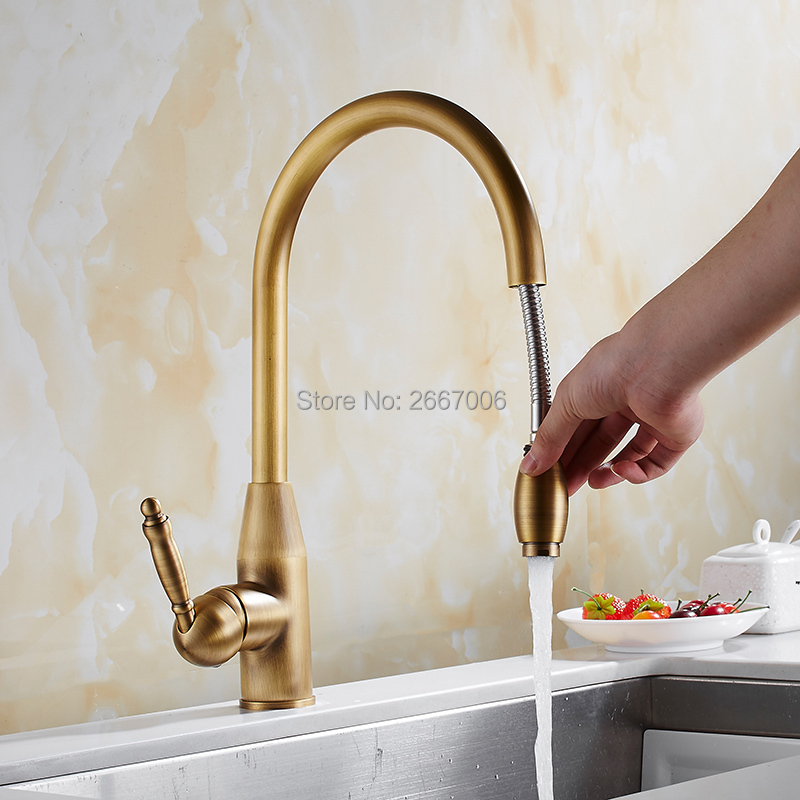 цены на GIZERO Good Quality Pull Out Sprayer Faucet Chrome Gold Antique Brass Mixer Tap With Flexible Hose Kitchen Sink Faucet GI2117 в интернет-магазинах
