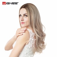 Wingee Long Body Wave Synthetic Wigs Middle Part With Skin Top No Bangs Ombre Color Light
