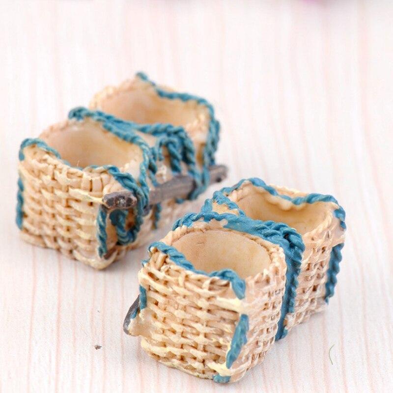 5 Pcs/lot Cute Rattan basket Fairy Garden Miniatures DIY Doll House Terrarium Micro Landscape Succulents Home Decoration