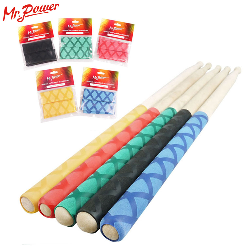 Drum Stick Grips antideslizante Drumsticks Grip Punta suave para baterista Instrumento musical New Sweat Absorbed Drum Sticks 350 E