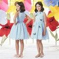 2017 Meninas Novas Vestido Sleevess Meninas Borboleta Bordado Vestido de Princesa Crianças Roupas de Desempenho Traje Infantil Azul Elegante