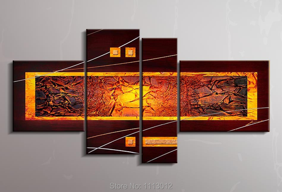 High Quality 4 Panel Arts Set Modern Knife Golden Line Flower Oil Painting On Canvas Abstract Home Decor For Living Room Sale