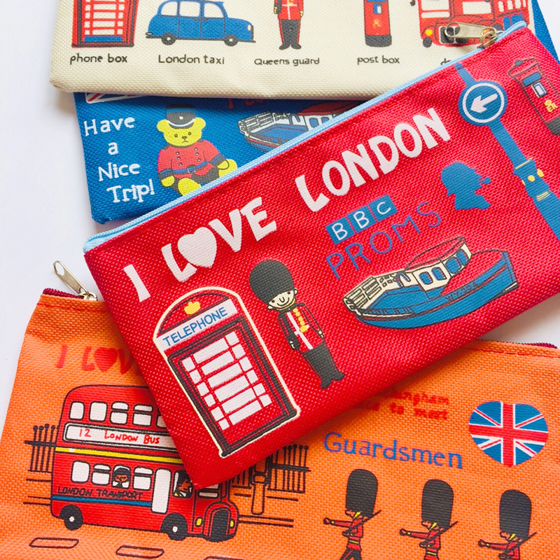 Kawaii I Love London Soldier Canvas Pen Pencil  Bag Holder Storage Student Stationery