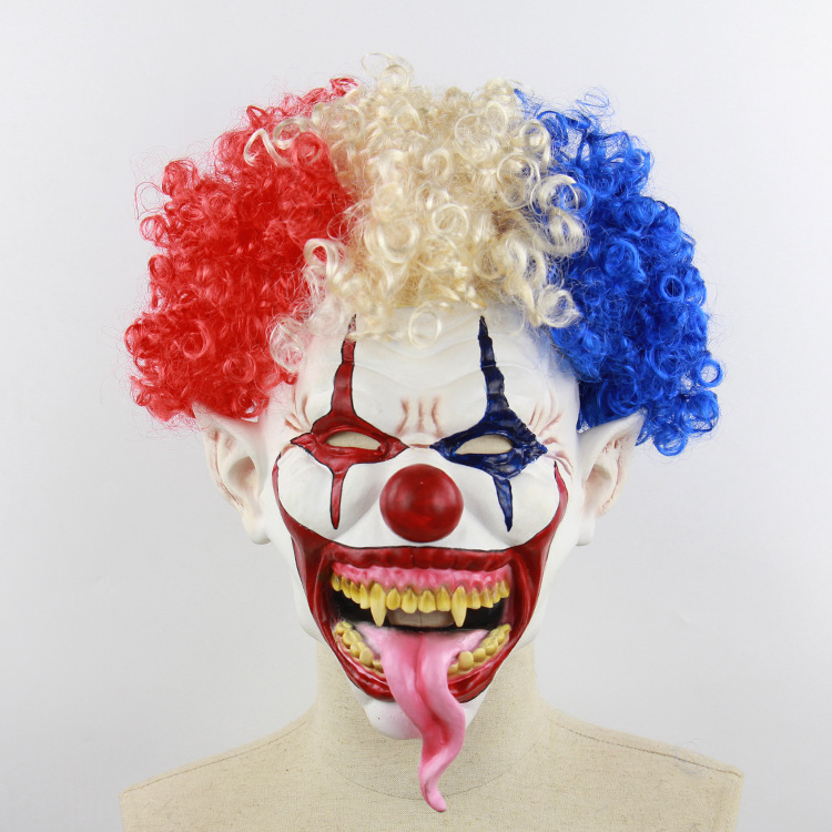 Halloween Latex Cosplay Mask Explosive Head Clown Mask Masquerade Party Costumes Horrific Headgear Mask Haunted House Props