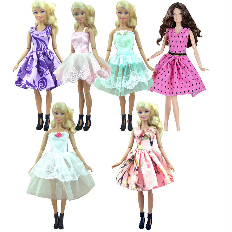 Factory wholesales 50 or 100 pcs lot Fashion Skirt Mini dress For Barbie Doll small dress