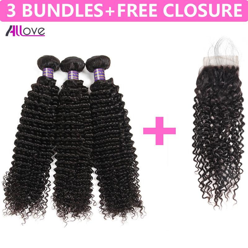 Allove brasilianska Curly Hair Bundles 100% Remy Human Hair Weaving 3 - Mänskligt hår (svart)