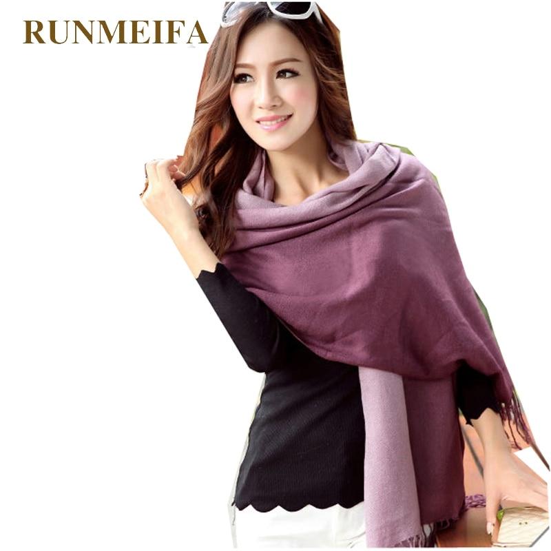 RUNMEIFA Wholesale fashion women spring autumn gradual color scarfs two double Colors Wrap Shawl Free Shipping