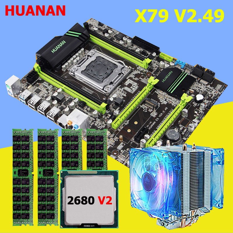 HUANAN ZHI discount X79 motherboard with M.2 slot brand motherboard with CPU Xeon E5 2680 V2 SR1A6 cooler RAM 16G(4*4G) RECC huanan x79 motherboard cpu ram combos with cooler v2 49 x79 lga2011 processor xeon e5 2680 v2 ram 16g 4 4g ddr3 recc all tested